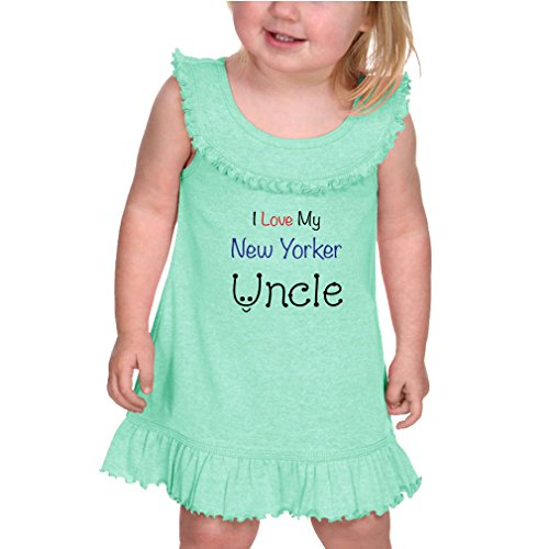 Cute Rascals I Love My New Yorker Uncle New York Cotton/Polyester Tank Ruffle Neck Girl Infant Dress - Ice Green, 24 (New Yorker Dresses)