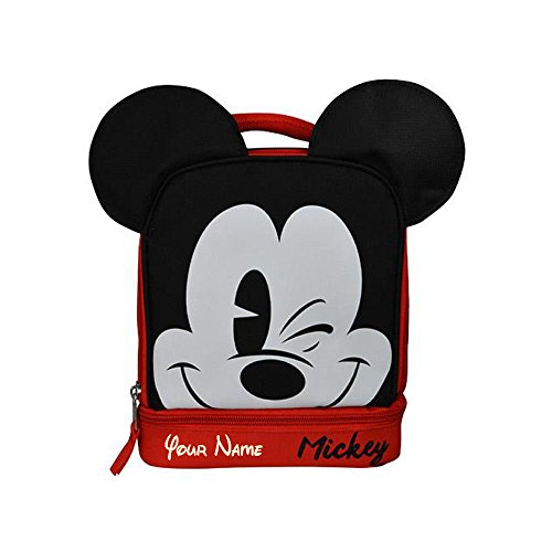 Personalized Mickey Mouse Face Print with Ears Back to School Insulated Lunchbox Lunchbag with Name Embroidery - 9 Inches