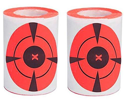 (Tebery 3-Inch Target Sticker Roll Neon Orange Self-Adhesive Bullseye Target Stickers, 250 Targets (125/Roll))