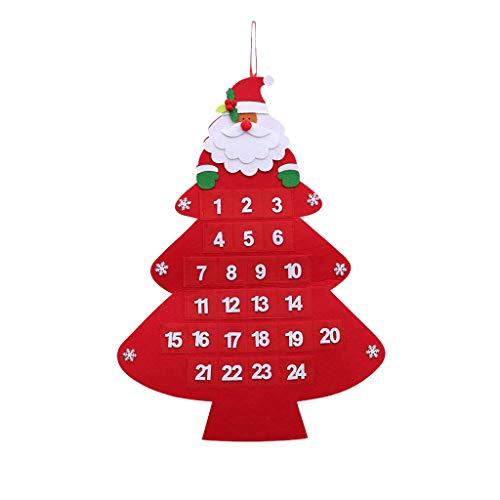 LANJIA Christmas 2020 Advent Calendar 24 Days Christmas Decorations Large Felts Christmas Advent Calendar With Pockets…