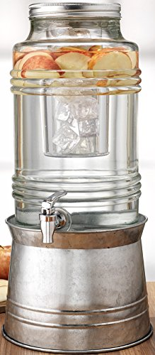Circleware Breeze Glass Beverage Drink Dispenser with Stand Metal Base which Transforms to Metal Ice Bucket and Metal Lid + Fruit Infuser + Chrome Finished Spigot, HUGE 2.3 Gallons by Circleware (Image #1)