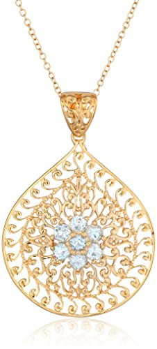 18k Yellow Gold Plated Sterling Silver Genuine Sky Blue Topaz Floral Filigree Teardrop Pendant Necklace, 18
