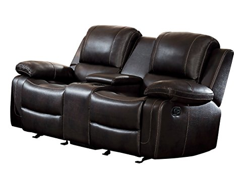 - Homelegance Oriole Double Glider Reclining Loveseat AirHyde Breathable Faux Leather with Center Console, Brown