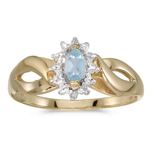 0.16 Carat (ctw) 10k Yellow Gold Marquise Aquamarine and Diamond Solitaire Diamond Infinity Halo Promise Engagement Ring (6 x 3 MM) - Size 8 Marquise Diamond Semi Mount Ring