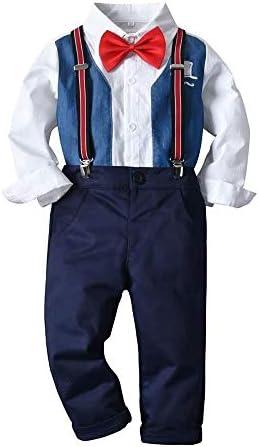 チルドレンボーイズツーピースセット、蝶ネクタイロングスリーブシャツ+サスペンダーパンツ、2-6年#040