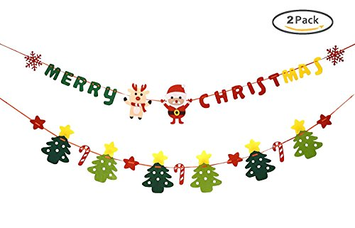 Cute Christmas Tree Shape Banner Merry Christmas Felt Garland Party Decoration for Room 2 (Reindeer Wall)
