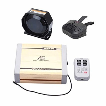 AS 100W Police Siren Bundle AS8202-SPK0021 4-Piece Pack 20 Tones 12V with Siren Box Speaker Dual Wireless Remotes Can Play Custom-Made MP3 ()