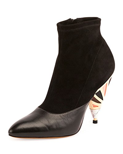 Givenchy Suede Enamel-Heel Ankle Boot, Black 36(6)