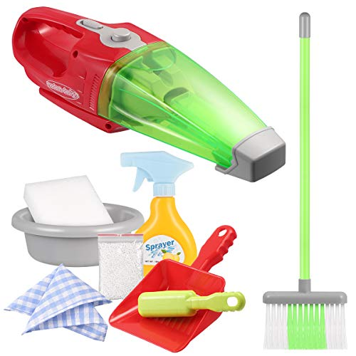iBaseToy 9 Pcs Kids Cleaning Set - Pretend Play Toy Cleaning Set Include Electric Vacuum Cleaner, Broom, Brush, Dustpan, Spray Bottle, Washbasin, Foam Dust, Sponge, Dishcloth- Cleaning Toy for Kids (Best Toy Vacuum Cleaner)