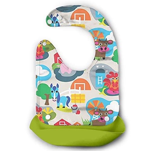 W3Zap1 Farm Animal Waterproof Silicone Baby Bibs Easily Wipes Clean Comfortable Soft Baby Bibs Keep Stains Off