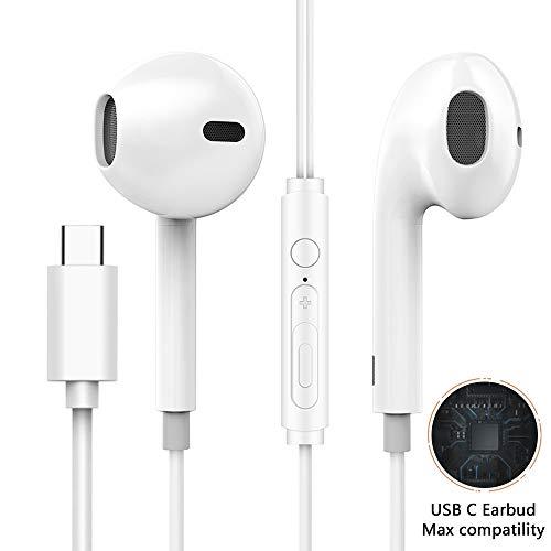 XZDIAN, Type-C (USB C)Headphone with MicroAphone, USB C Earbuds with Mic, USB Type-C Earphones Volume Control for Google Pixel 3/2/2XL, Sony Xperia XZ2, Moto Z, HTC Bolt U12/U11