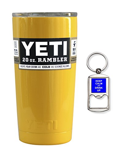 YETI Coolers Custom Stainless Steel 20 Ounce (20oz) (20 oz) Rambler Tumbler Cup Mug with Lid and Bottle Opener Keychain (Yellow)