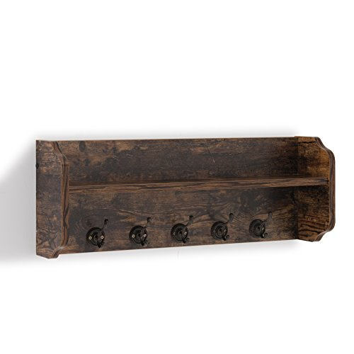 Danya B XF161206PI - Rustic Floating Wall Shelf with Hooks & Aged Wood Finish – Wall Mount - Brown