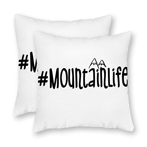 DKISEE Set of 2 Mountain Life Square Throw Pillow Cover Canvas Pillow Case Sofa Couch Chair Cushion Cover Or Home Decor