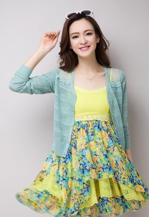 efec1a5269 Buy Imported  new sunscreen shirt women sweater cape shrug cutout lace  Green color cardigan Online at Low Prices in India - Amazon.in
