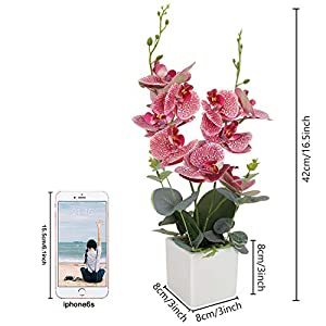 RERXN Artificial Orchid Bonsai Fake Orchid Arrangement 3 Heads PU Potted Phalaenopsis Plant for Home Party Decor 2