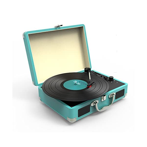 Record Player, MSTING Turntable Bluetooth for Vinyl Records 3 Speed with Two Dual Stereo Speakers Belt Drive Turntable 3