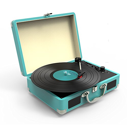 Record Player, MSTING Turntable Bluetooth for Vinyl Records 3 Speed with Two Dual Stereo Speakers Belt Drive Turntable