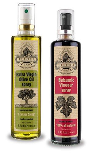 Ellora Farms | Extra Virgin Olive Oil & Balsamic Vinegar in Spray Bottles | Ancient Origin of Crete, Greece | 100% Single Origin & Traceable | 3.38 oz Glass Spray Bottle | Pack of 2
