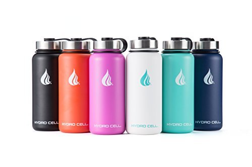 HYDRO CELL Stainless Steel Water Bottle with Straw & Wide Mouth Lids (32oz or 22oz) - Keeps Liquids Perfectly Hot or Cold with Double Wall Vacuum Insulated Sweat Proof Sport Design (Teal/Blue 32oz) (Steel Bottle Stainless Water)