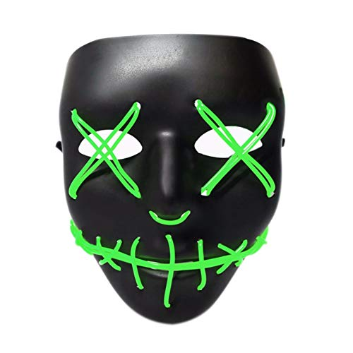 Tulas Light Up Purge Mask Stitched El Wire LED Halloween Rave Cosplay Props Supplies -