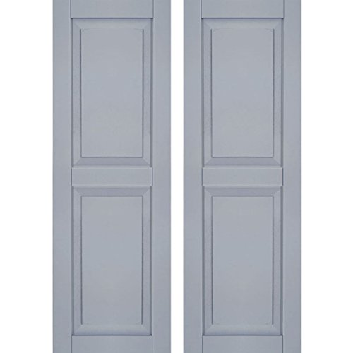 "CWR12X025UNC Exterior Composite Wood Raised Panel Shutters with Installation Brackets (Per Pair), Unfinished, 12""W x 25""H"