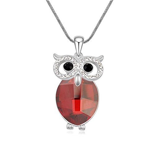 Aokarry Red Crystal Belly OWL Pendant Necklace Platinium Plated 24+2 Inch