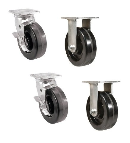 Set of 4 Toolbox Casters with 6'' Phenolic Wheel 1000# Cp w 7-1/2'' Load Height 2