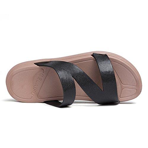 Scarpe Color da EU uomo e alla da piatto Cinturino Nero uomo donna Nero Dimensione da caviglia shoes 37 Jiuyue Oqgwvv