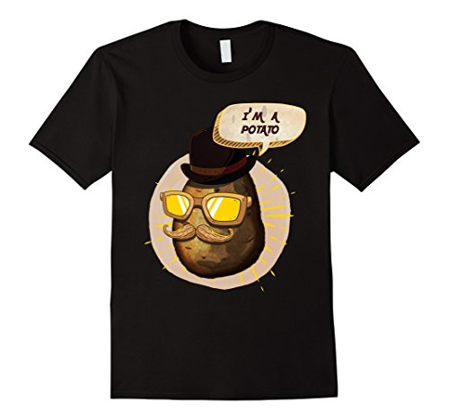 Mens I Am A Potato Mr. With Moustache And Glasses Cartoon T-Shirt 2XL - Glasses Man Cartoon With