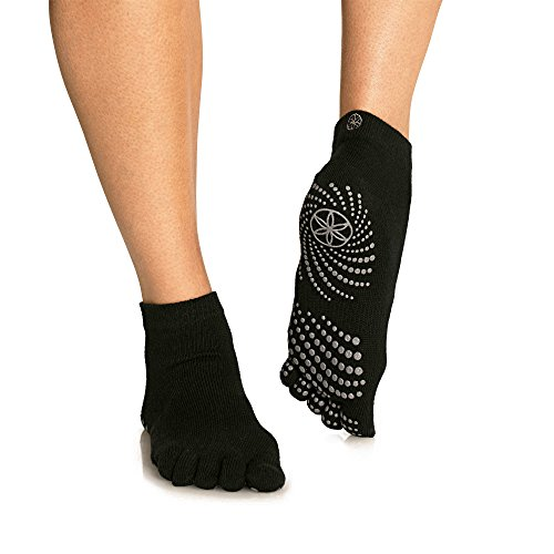 Gaiam Grippy Yoga Socks - Full-Toe, Toeless, Lace-Up, Studio for Extra Grip in Hot Yoga, Barre, Pilates or at Home for Added Balance and Stability