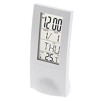 901 Digital LCD Alarma Reloj Calendario, termómetro, color blanco: Amazon.es: Electrónica