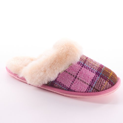 Pink Ladies Paw Snow Tartan By Harris Tweed Slippers qxFTaE
