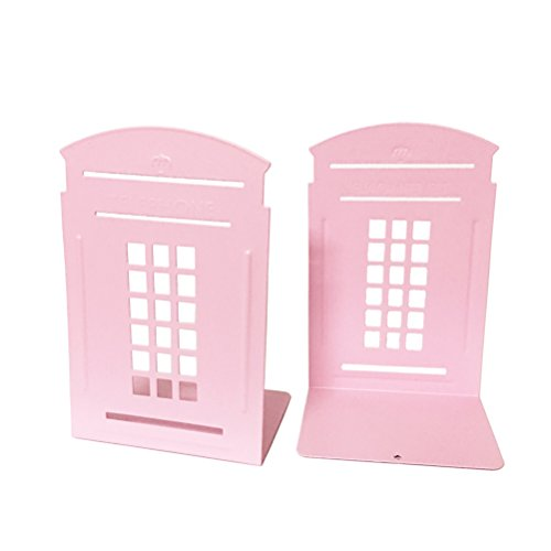 Price comparison product image 1pair Telephone Booth Non-Slip Iron Bookends, Novelty Bookend As Book Stand for Home and Office (Pink)