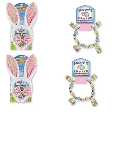 EASTER FAVOR SET ~ (2) Bunny Sequined Ears & Bow in PINK (2) Happy Easter Charm Bracelets ~ Adorable Easter Gift Favor Basket Filler ~ Easter Egg Hunt Prize ~ Springtime Birthday Party Favors ~