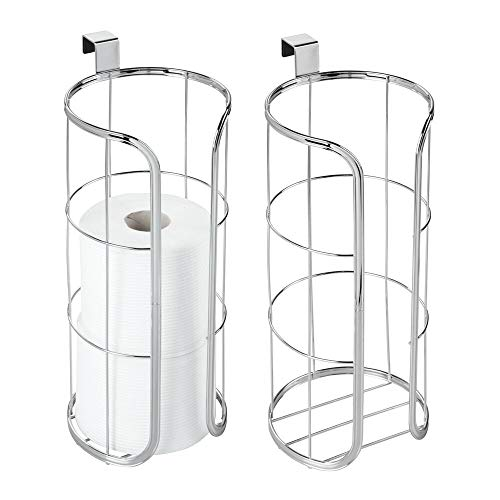 (mDesign Modern Over The Tank Hanging Toilet Tissue Paper Roll Holder and Reserve for Bathroom Storage - Stores 3 Extra Rolls, Holds Jumbo-Sized Rolls - Durable Metal Wire, 2 Pack - Chrome)