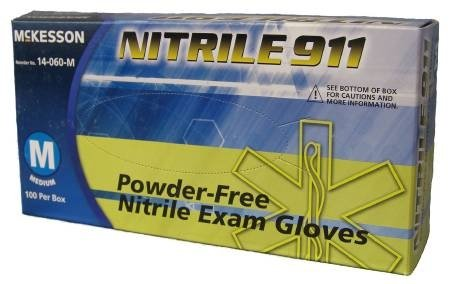 MCK Brand 41611300 Exam Glove Mckesson Nitrile 911 Nonsterile Powder Free Nitrile Textured Fingertips Blue Chemo Rated X-large Ambidextrous 14-060-xl Box Of 100