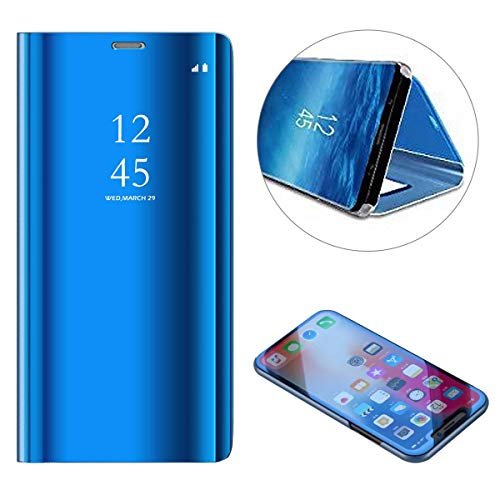 Price comparison product image Shinyzone Mirror Case for Samsung Galaxy S10, Slim Fit Book Folio Flip Hardcover with Plating Smart View Translucent Wallet Cover for Samsung Galaxy S10-Blue