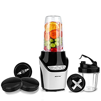 BESTEK 1000 Watts Power Blender Mixer High-Speed Food Extractor Juicer Smoothies Maker 8 Piece Set Food Fruit Processor, Silver
