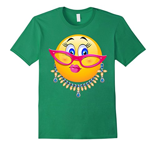 Men's Lady Bling Face Emoji Costume - Smiley Funny Emoticon Shirt Large Kelly Green ()
