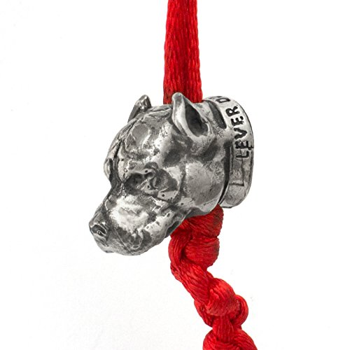 PIT BULL Paracord Bead for Making DIY Bracelet or EDC Lanyard - Exclusive Design - Hand-Cast in Nickel Silver (Melchior), Blackened & Polished from Unique Handmade Arts & Crafts