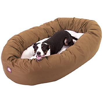 Amazon Com 40 Inch Khaki Sherpa Bagel Dog Bed By Majestic Pet