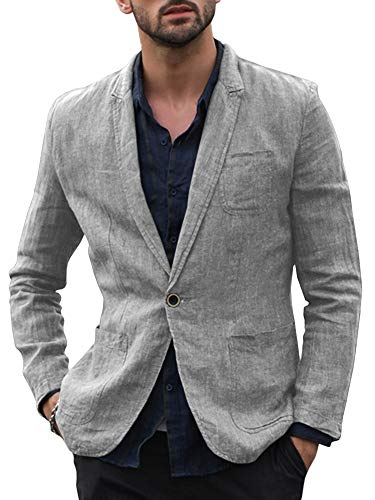 (Enjoybuy Mens Linen Tailored Long Sleeve Blazer Casual Two-Button Suit Lightweight Jacket (XX-Large, One Button-Grey))