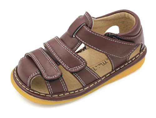 Little MAE'S Toddler Boy Sandals | Brown Adjustable Strap Closed Toe Squeaky Sandals | Premium Quality (Removable Squeakers) (4)