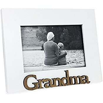 """Isaac Jacobs White Wood Sentiments """"Grandma"""" Picture Frame, 4x6 inch"""
