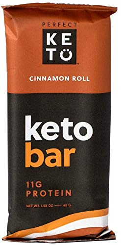 Perfect Keto Bars - The Cleanest Keto Snacks with Collagen and MCT. No Added Sugar, Keto Diet Friendly - 3g Net Carbs, 19g Fat, 11g protein - Keto Diet Food Dessert (Cinnamon Roll, 12 Bars)