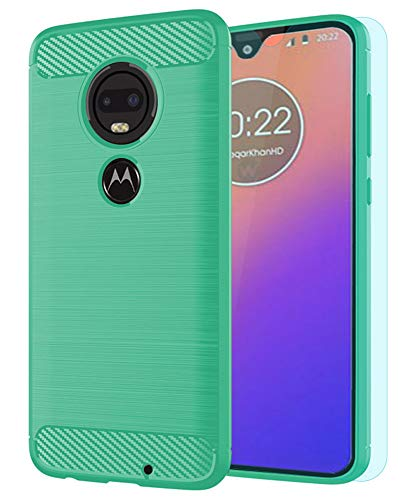 Moto G7 Case/Moto G7 Plus Case with HD Screen Protector Thinkart Frosted Shield Luxury Slim Design for Motorola Moto G7/G7 Plus Phone (Green)