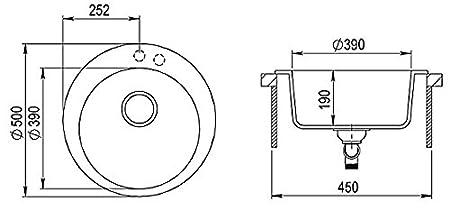 Drexexcenter Siphon Waschbecken Sp/üle Sp/ülbecken Granitsp/üle 50 cm Einzelbecken K/üche Einbausp/üle Verbundsp/üle K/üchensp/üle schwarz gesprenkelt rund