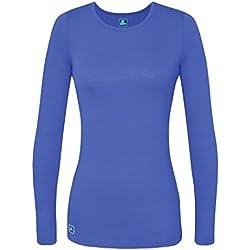 Adar Womens Comfort Long Sleeve T-Shirt Underscrub Tee - 2900 - Ceil Blue - M