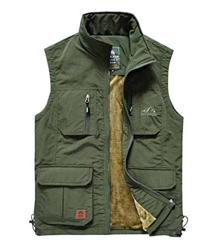 Men's Classic Outdoor Fleece Lined Vest Outwear Army Green Tag 2XL (Classic Pocket Vest Chest)